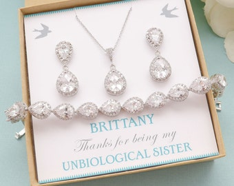 Personalized Bridesmaid Gift, Bridal Earrings and Necklace Set, Wedding Bracelet Jewelry Set, Bridesmaid Jewelry Set, Mother of Bride Gift