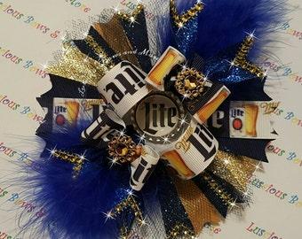 Miller Lite Beer Hair Bow, Lite Beer Hair bow, Miller Lite Beer Bow, Lite Beer Bow