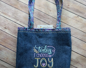 Today I Choose Joy tote bag, Book Bag, Mom Bag, Quote Bag, Happy Bag, Personalized Tote, Denim Bag, Blue Denim Bag, Shopping bag, book tote