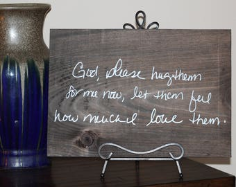 Custom Handwriting Wooden Sign - Memorial Keepsake Wooden Sign - Remembering Loved Ones Keepsake - Custom Vinyl Sign