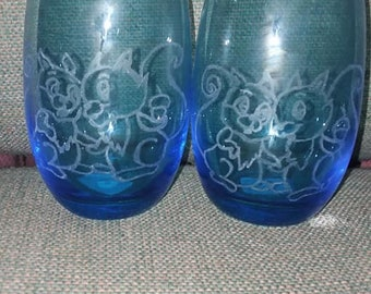 Pair of Swiss Blue Tumbler Glasses with Etched Lover Squirrels Be Mine Lovers Forever Can I Have Your Hand Wedding Engagement Love