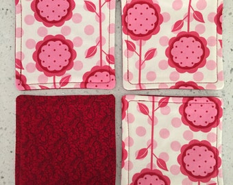 Drink Coasters - Set of 4 - Pink Flowers With Dots