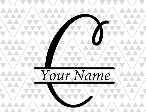 Monogram Letter C Split Letter C Silhouette Files Digital