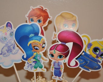 Shimmer and Shine Cake Toppers set of 6