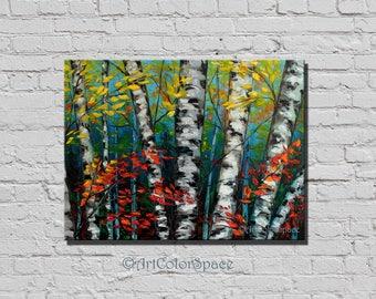 Birches painting on canvas Aspen tree Autumn canvas Forest decor Fall painting Autumn decor Birches art Birch canvas Fall art