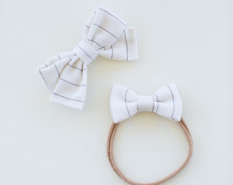 Headbands and Bows- The Ruby Sister Collection | White and Grey stripe Bow and Headband