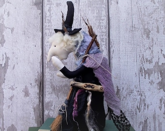 Witch doll, witch art doll, primitive witch doll, textile witch, soft sculpture witch, kitchen witch, hag doll, witch ornament, pagan decor