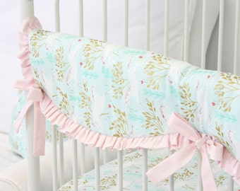 Charming Unicorns Crib Rail Cover for Bumperless Bedding | Blush, Aqua, Gold, Unicorns, Pastel, Sweet Scalloped Baby Girl Teething Guard