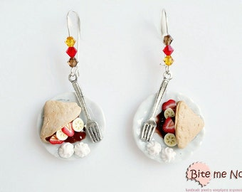 Polymer Clay Jewelry Chocolate Crepes Hook  Earrings, Mini Food, Crepes Earrings, French Dessert, Clay Sweets, Miniature Food Jewelry