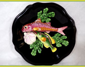 Plate barbotine vintage trompe l'oeil fish and shellfish vintage vintagefr decoration Christmas gift idea provence France