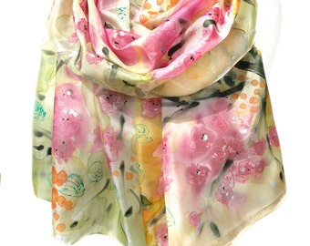 Hand Painted Scarf. Silk Scarf. Cream Scarf. Romantic Sparkle Scarf. Woman Silk Shawl. Anniversary Gift. 18x71in MADE to ORDER