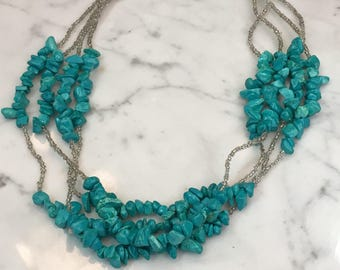 4 Strand Turquoise and Bead Necklace