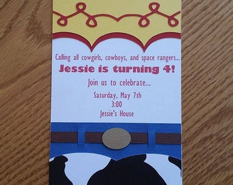 Toy Story Birthday Invitation, Jessie Birthday Invitation - Handmade, diecut, cardstock, invitation