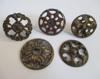 Vintage Salvaged Hardware Findings Destash - Mixed Media, Assemblage, Altered Art - 5 in Lot