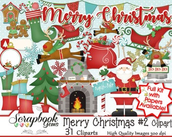 MERRY CHRISTMAS SET #2 Clipart, 31 png Clipart files Instant Download winter christmas tree gift santa gingerbread fireplace sleigh reindeer