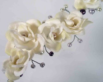 AMETHYST IVORY Purple and Lavender Pearl Beaded Silver Hairvine with Ivory Silk Roses