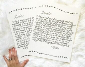 Calligraphy Wedding Vows // Custom