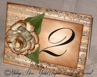 French Vintage Style Music Notes 3D Hand Sculpted Flower Luxury Table Numbers/Names Wedding Original Design