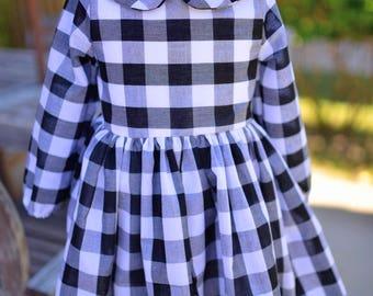 Leighton Peter Pan Collar Long Sleeve Gingham Dress