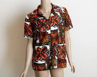 Vintage 1960s Hawaiian Shirt - Tropical Vacation Bright Orange Brown and Green Floral Print Zip Shirt Top - Womens Medium