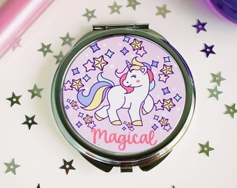 Magical Unicorn Compact Mirror - Kawaii Compact Mirror - Unicorn Party Favors - Easter Basket Filler
