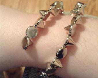 Spiked silver wrap around bracelet