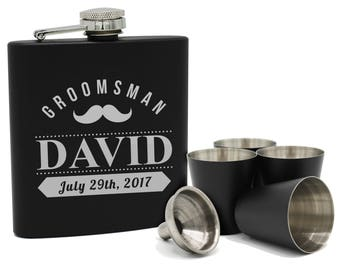Personalized Flask Set, Groomsmen Flask Set, Personalized Flask for Men, Groomsmen Gift, Custom Flask, Monogram Flask, Hip Flask