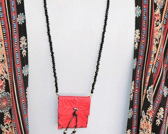 Amulet Bag Necklace Red Leather