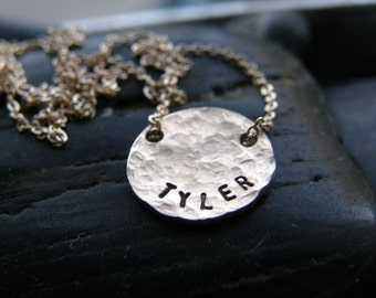 Personalized It...Simple ... Feminine ... Modern ...  SMALL Hammered Gold Disc or Sterling Disc - By Simag