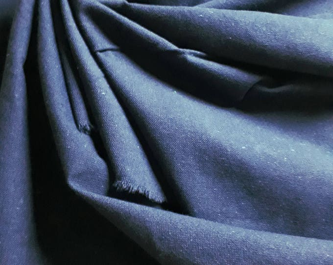 Rustic Navy Blue thick cotton canvas. 150 cm width. Fabric for lining purse. For bag making. Canvas back patchwork