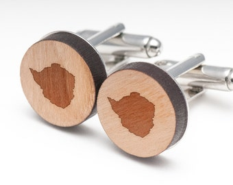Zimbabwe Wood Cufflinks Gift For Him, Wedding Gifts, Groomsman Gifts, and Personalized