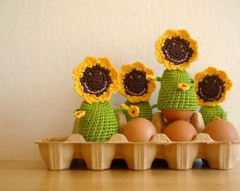 Crochet Egg Cozy - Crochet Sunflower Decor - Sunflower Egg Warmers - Table Decor Sunflower - Farmhouse Style Gift - Gift for Her