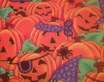 Halloween Fabric Pumpkins and Spiders  1 Yard Cotton