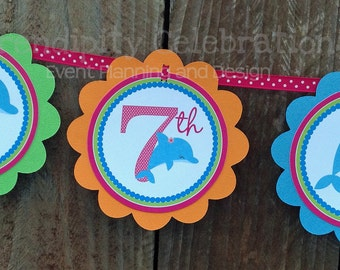 Personalized Scalloped Word Banner -Bright Dolphin -Birthday -Baby Shower -Party Banner -Photo Prop -Under the Sea