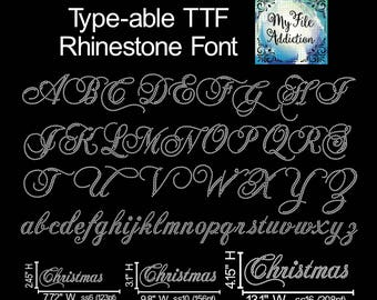 Instant Download Type-able Rhinestone TTF Script Font Letters