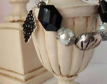 Silver and Black Chunky Bracelet with Silver and Pearls Rhinestone charm