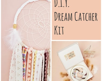 DIY Dream Catcher Kit Craft Kit Birthday Gift For Girl Pink Dreamcatcher Nursery Room Decor Wall Hanging  by The House Phoenix
