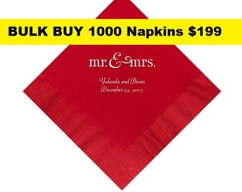 BULK BUY Wedding Napkins Personalized Set of 1000 Napkins