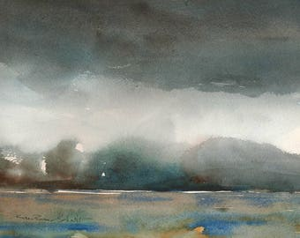 Landscape Painting Original, watercolor semi-abstract, 11 x 14 with mat, stormy clouds, misty mountains, original artwork