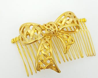 Upcycled Hair Comb Made from Vintage Gold Tone Bow Brooch