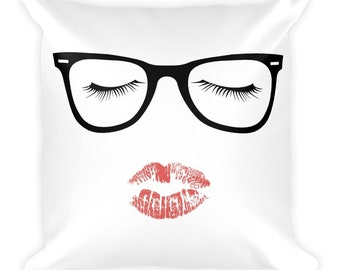 Cute Glasses Eyelashes & Lipstick, Talk Nerdy To Me, Beauty Is Dangerous, Intelligence Is Lethal Lipstick Lover, Makeup Lover Throw Pillow