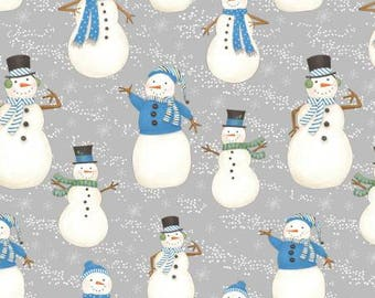 Wilmington Prints Snow Buddies Flannel, snowman, winter, Christmas by the half yard