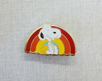 Aviva Vintage Snoopy and Woodstock on Rainbow Red Orange Yellow Bright  Colors Pin Enamel Cloisonne  1154