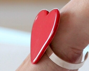 Red Heart Big Ceramic Bangle Bracelet  - Valentines Day, big bracelet, oversized bangle, ceramic jewelry, statement jewelry,  handmade heart