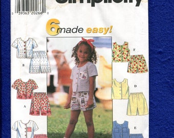 Simplicity 7616 Summer Fun Play Clothes Pattern for Girls Size 2..3..4 UNCUT