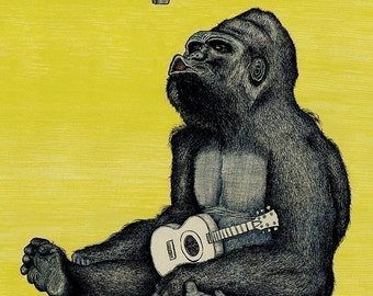 GORILLA print 11x16.5 signed and numbered. Backround color your choice (yellow, green, blue or pink).