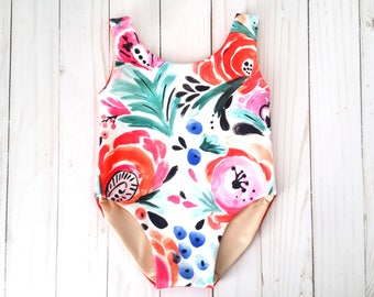 Tahitian Tropic Floral Baby Bathing Suit | Floral Baby Girl Swimsuit | Palm Tree Swimsuit | Infant Swimsuit | Toddler Girl Swimwear