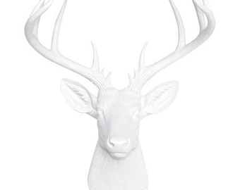 Large Deer Head Sculpture – By Near and Deer Faux Taxidermy - White and Gold Stag Wall Mount – Unique Modern Home Decorating accent – ND0108