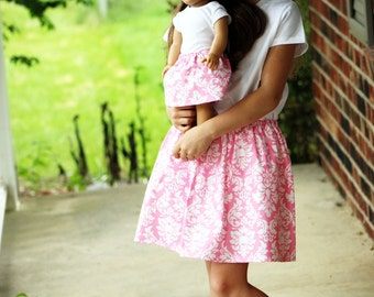 Matching Girl and Doll Clothes - Fits American Girl Doll - Twirl Skirts in Pink Dandy Damask, Many Sizes Available