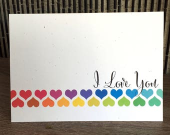 I Love You Greeting Card, Valentines Day Card, Any Occasion Card, Hearts Card, Love Card, Rainbow, Red Pink Purple Blue Green Yellow Orange
